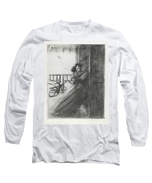 Long Sleeve T-Shirt featuring the drawing Love - La Femme Series by Paul-Albert Besnard