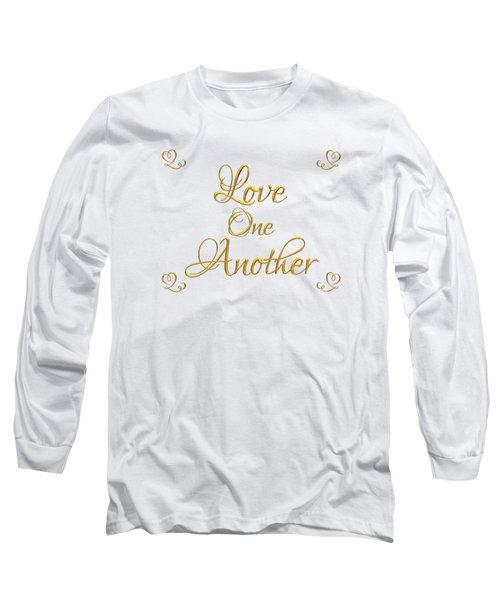 Love One Another Golden 3d Look Script Long Sleeve T-Shirt