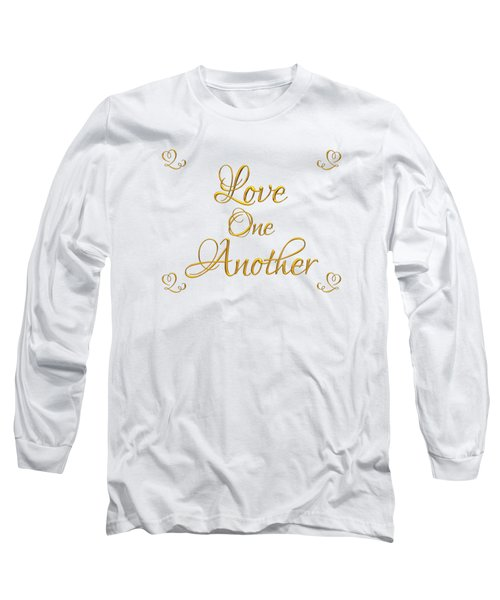 Long Sleeve T-Shirt featuring the digital art Love One Another Golden 3d Look Script by Rose Santuci-Sofranko