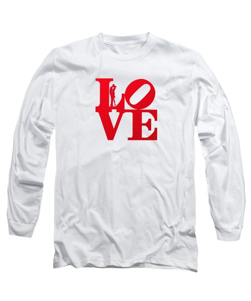Love Typography - Red On White Long Sleeve T-Shirt