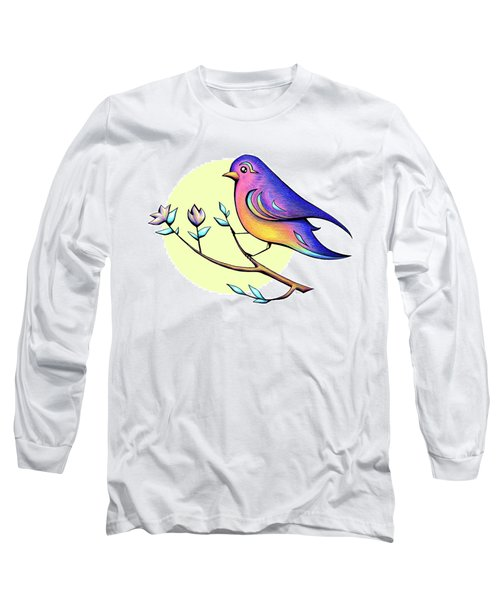 Lovely Spring Day Bird And Flowers Long Sleeve T-Shirt