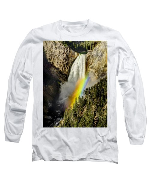 Long Sleeve T-Shirt featuring the painting Lower Falls- Yellowstone Park by Penny Lisowski