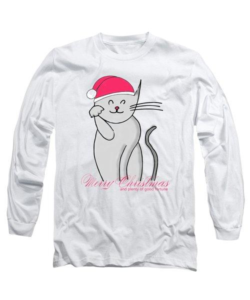 Lucky Cat Merry Christmas Long Sleeve T-Shirt