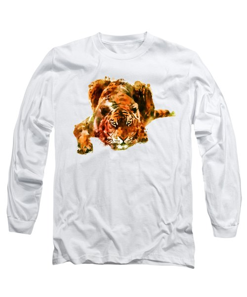 Lurking Tiger Long Sleeve T-Shirt by Marian Voicu