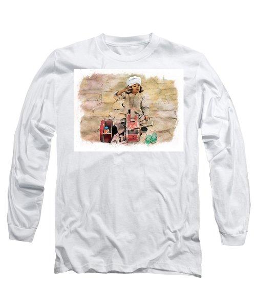 Long Sleeve T-Shirt featuring the photograph Luxor Shoeshine Girl by Joseph Hendrix