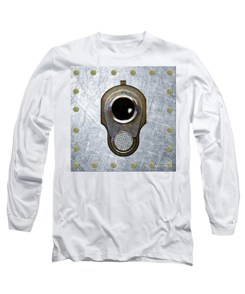 M1911 45 Framed With 45 Case Heads Long Sleeve T-Shirt by M L C