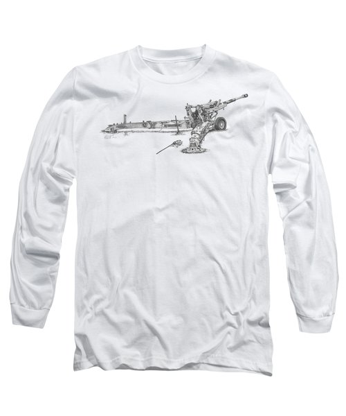 M198 Howitzer - Natural Sized Prints Long Sleeve T-Shirt