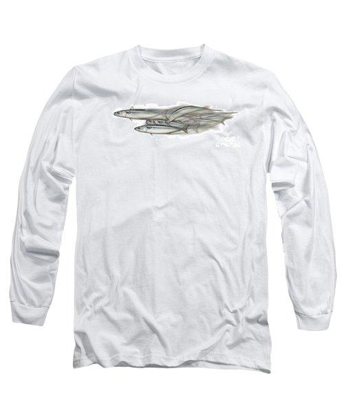 Mackerel School Of Fish - Scomber - Nautical Art - Seafood Art - Marine Art -game Fish Long Sleeve T-Shirt