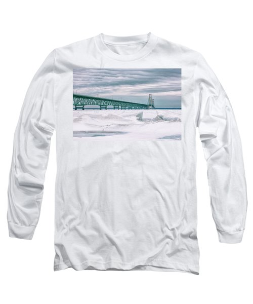 Long Sleeve T-Shirt featuring the photograph Mackinac Bridge In Winter During Day by John McGraw