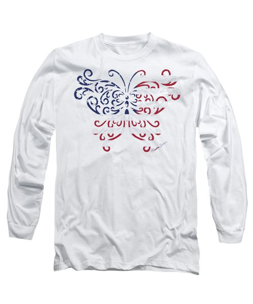 Made In The Usa Tribal Butterfly Long Sleeve T-Shirt