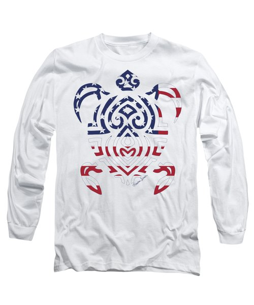 Made In The Usa Tribal Turtle Long Sleeve T-Shirt