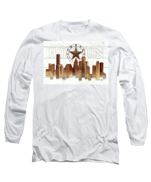 Made-to-order Houston Texas Skyline Wall Art Long Sleeve T-Shirt