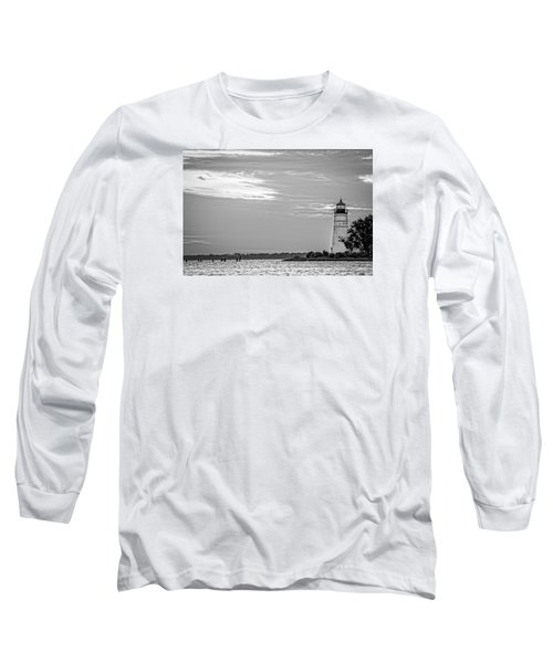 Long Sleeve T-Shirt featuring the photograph Madisonville Lighthouse In Black-and-white 2 by Andy Crawford