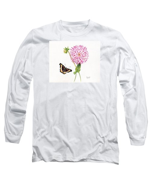Magenta Dahlia With Butterfly Long Sleeve T-Shirt
