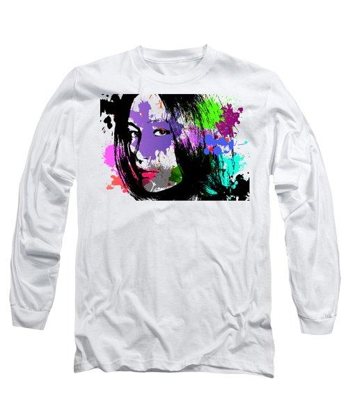 Maggie Q Pop Art Long Sleeve T-Shirt