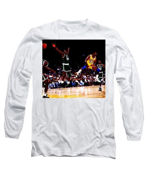 Magic Johnson No Look Pass 7a Long Sleeve T-Shirt by Brian Reaves