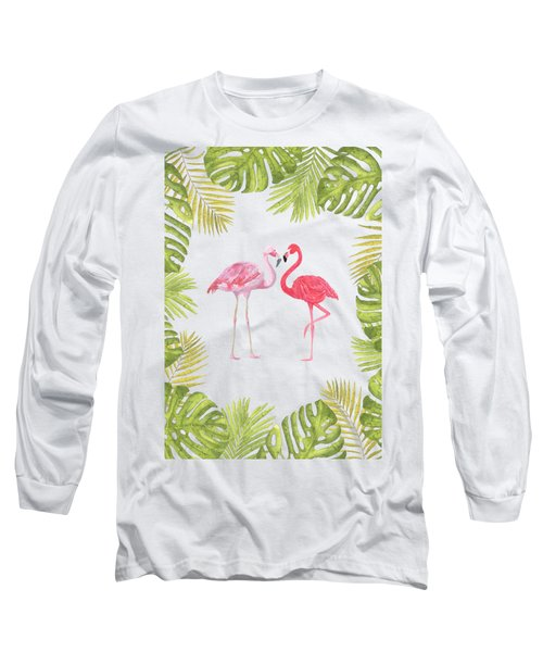 Magical Tropicana Love Flamingos And Leaves Long Sleeve T-Shirt
