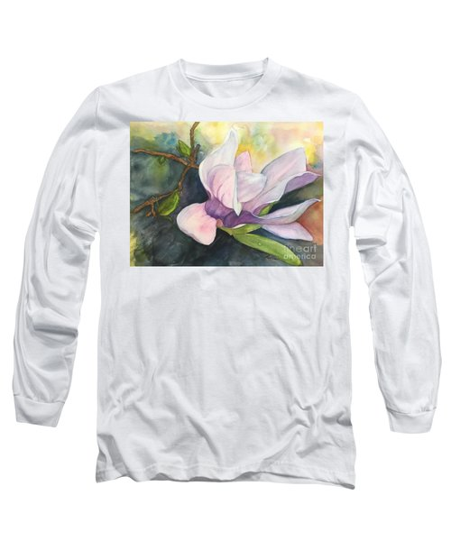 Long Sleeve T-Shirt featuring the painting Magnificent Magnolia by Lucia Grilletto