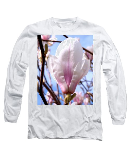 Long Sleeve T-Shirt featuring the photograph Magnolia Flower Bloom by Stephen Melia