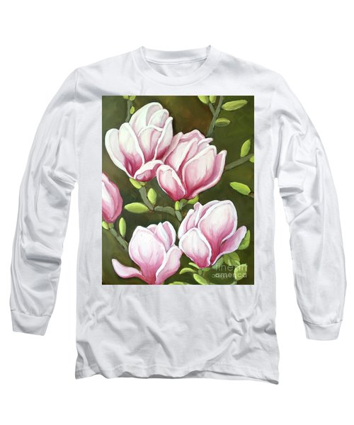 Long Sleeve T-Shirt featuring the painting Magnolias by Inese Poga