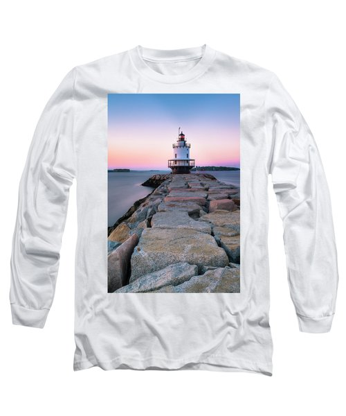 Long Sleeve T-Shirt featuring the photograph Maine Coastal Sunset Over The Spring Breakwater Lighthouse by Ranjay Mitra