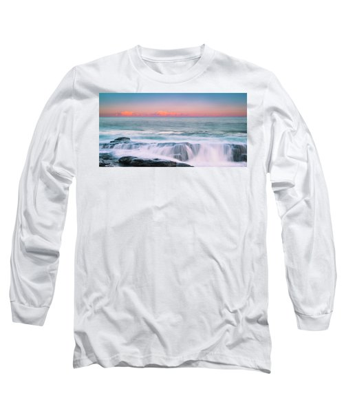 Maine Rocky Coastal Sunset Panorama Long Sleeve T-Shirt by Ranjay Mitra