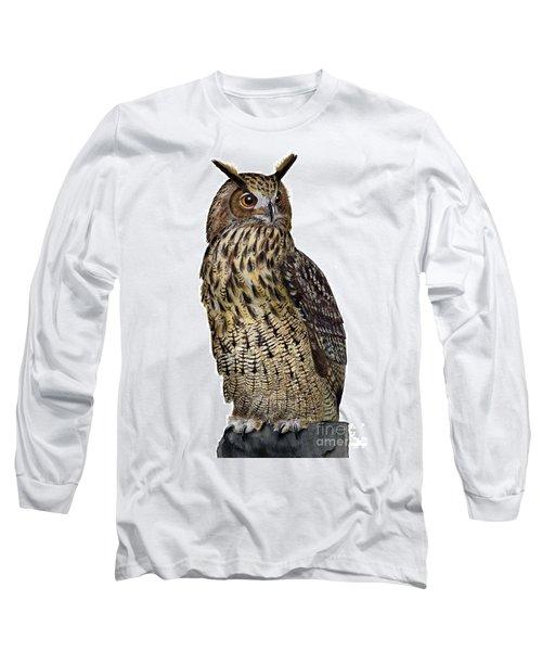 Majestic Eurasian Northern Eagle Owl Bubo Bubo - Hibou Grand-duc - Buho Real - Nationalpark Eifel Long Sleeve T-Shirt
