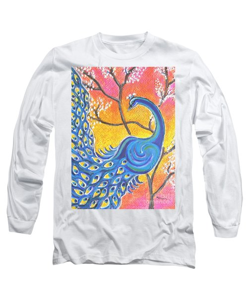 Majestic Peacock Colorful Textured Art Long Sleeve T-Shirt