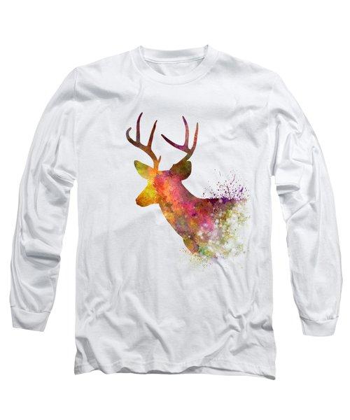 Male Deer 02 In Watercolor Long Sleeve T-Shirt by Pablo Romero