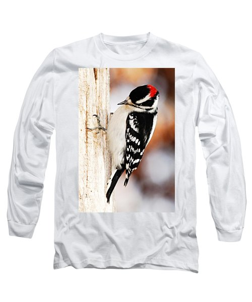 Male Downy Woodpecker 3 Long Sleeve T-Shirt