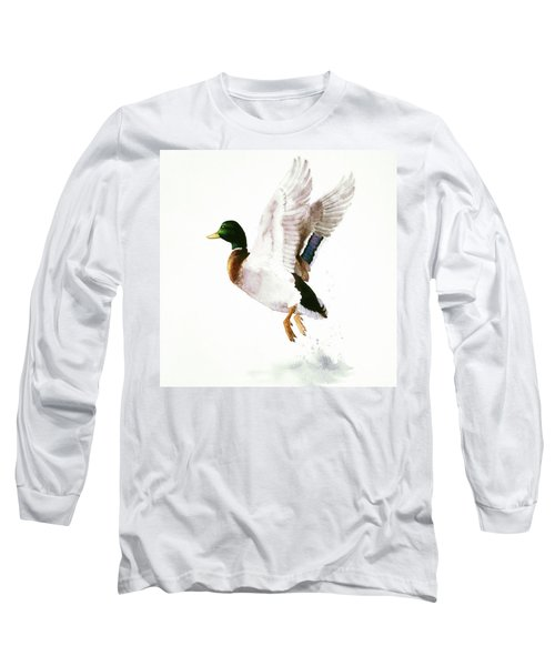 Mallard Flying Away Watercolor Long Sleeve T-Shirt