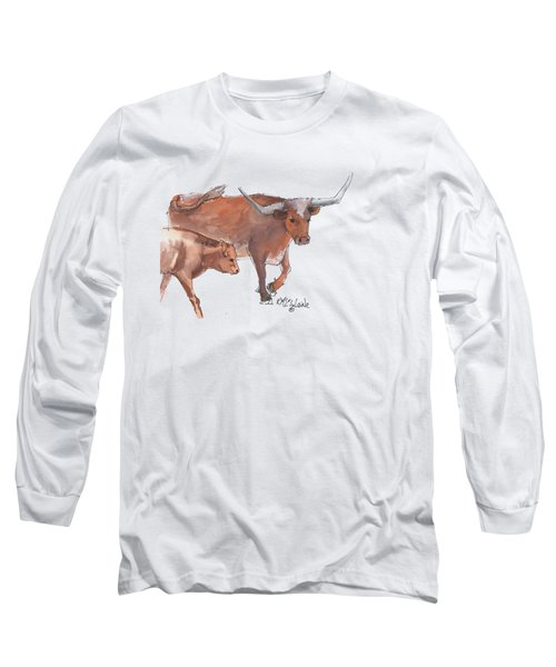 Mama And Baby Longhorn On The Run Long Sleeve T-Shirt by Kathleen McElwaine