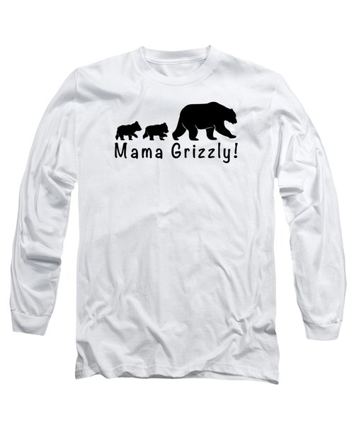 Mama Grizzly And Cubs Long Sleeve T-Shirt by A C