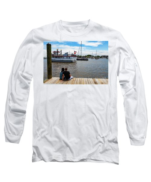 Man And Woman Sitting On The Dock Long Sleeve T-Shirt