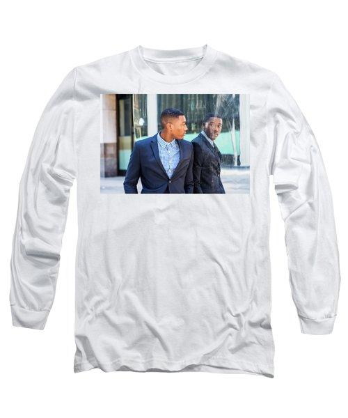Man Looking At Mirror Long Sleeve T-Shirt