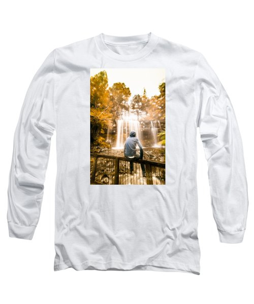 Long Sleeve T-Shirt featuring the photograph Man Looking At Waterfall by Jorgo Photography - Wall Art Gallery
