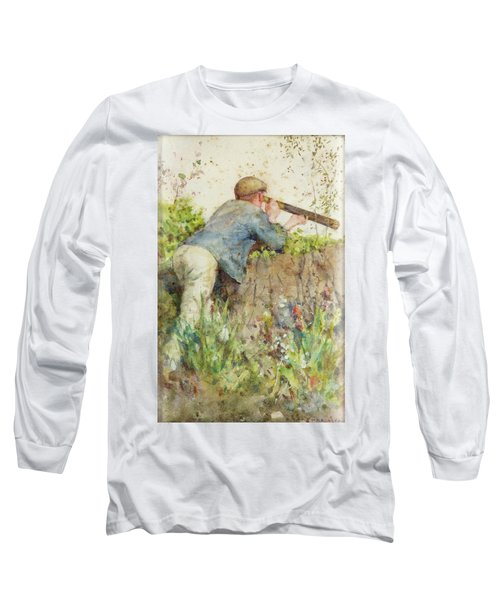 Long Sleeve T-Shirt featuring the painting Man Looking Through A Telescope by Henry Scott Tuke