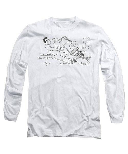 Man Mowing The Lawn Cartoon - Speed Mower Long Sleeve T-Shirt