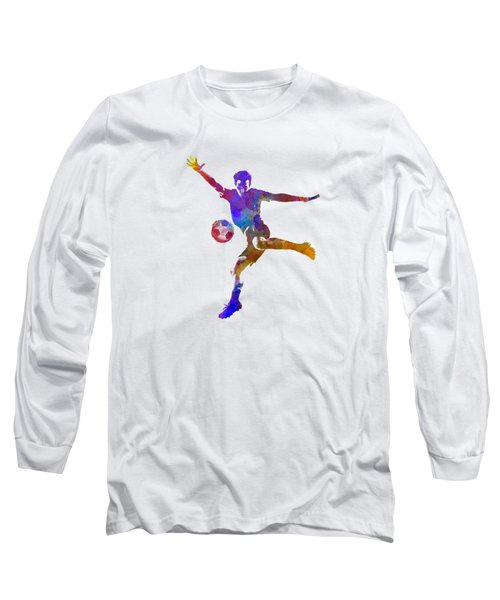 Man Soccer Football Player 14 Long Sleeve T-Shirt by Pablo Romero