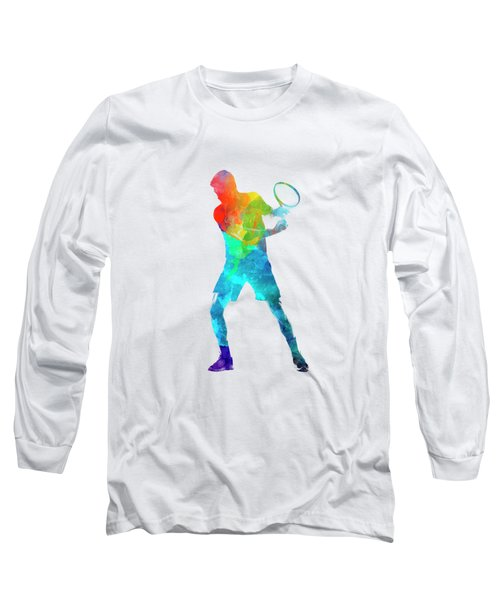 Man Tennis Player 02 In Watercolor Long Sleeve T-Shirt by Pablo Romero