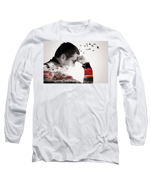 Man Thinking Double Exposure With Birds Long Sleeve T-Shirt