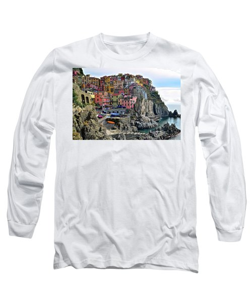 Long Sleeve T-Shirt featuring the photograph Manarola Version Four by Frozen in Time Fine Art Photography