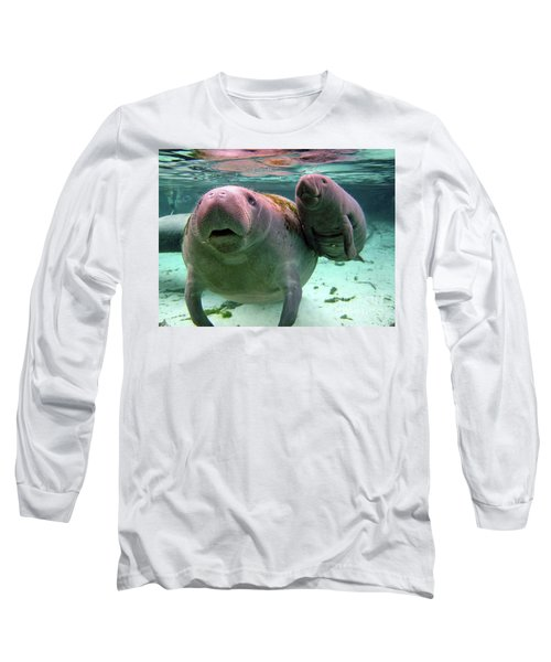Manatee Mom And Calf Long Sleeve T-Shirt
