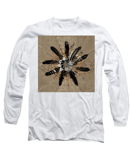 Mandala Arrow Feathers Long Sleeve T-Shirt