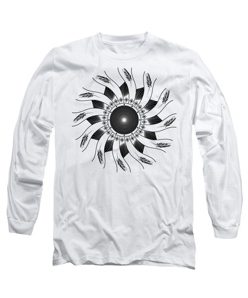 Long Sleeve T-Shirt featuring the digital art Mandala Black And White by Linda Lees