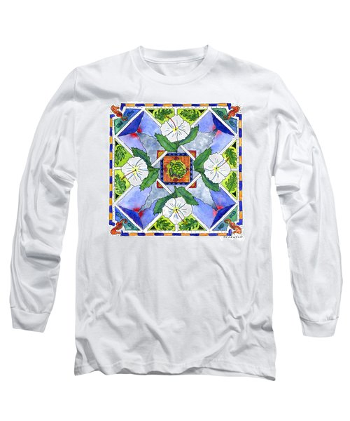 Mandala IIi - White Hibiscus Long Sleeve T-Shirt