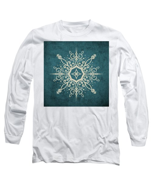 Mandala Teal And Tan Long Sleeve T-Shirt