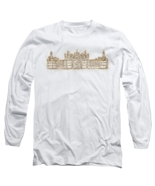 Map Of The Castle Chambord Long Sleeve T-Shirt by Anton Kalinichev