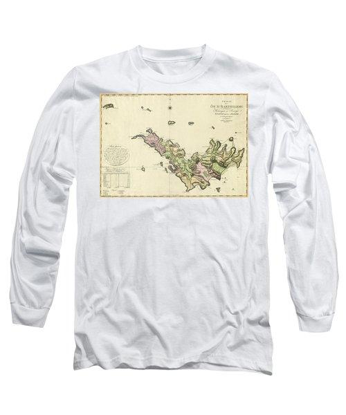 Map Of Saint Barts 1801 Long Sleeve T-Shirt