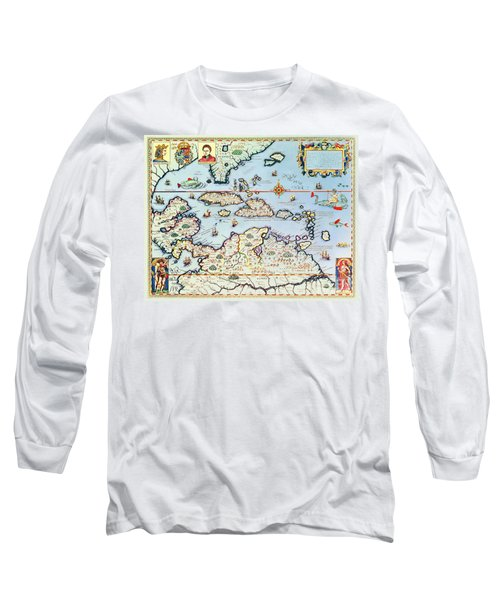 Map Of The Caribbean Islands And The American State Of Florida  Long Sleeve T-Shirt